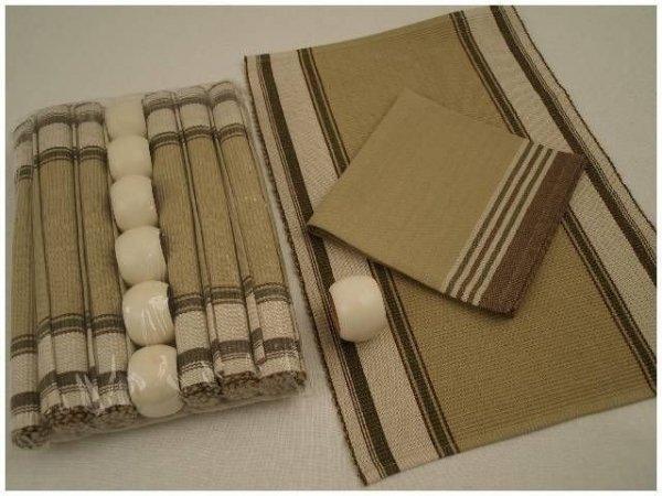 Podkładki na stół + Serwetki + Obrączki na serwetki x 6-szt - Beż, kość słoniowa, oliwka