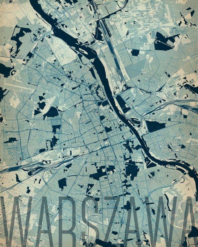 Plakat Na ścianę Warszawa Mapa 40x50 Dekoracje ścienne Sklep