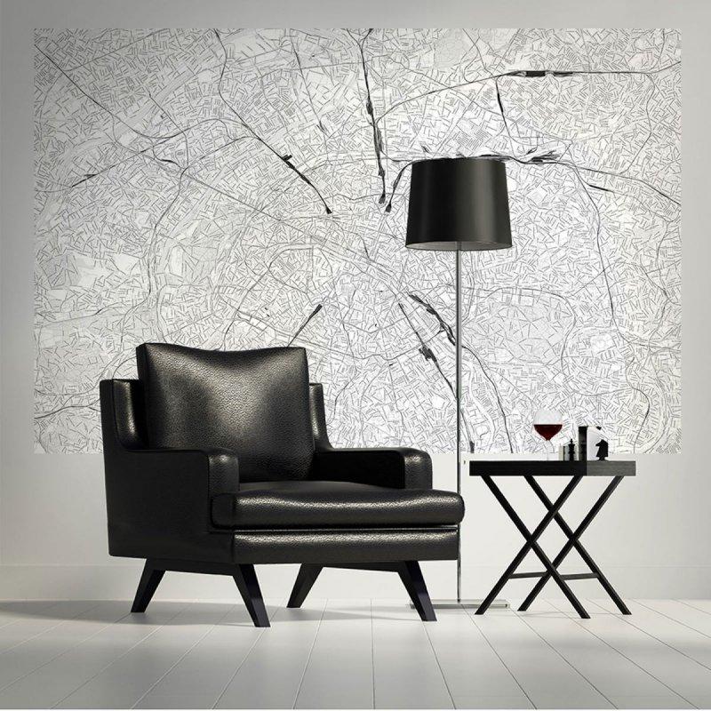 Fototapeta ścienna Mapa Paryża Czarno Biała