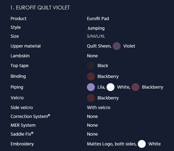 MATTES EUROFIT QUILT SHEEN Czaprak profilowany skokowy