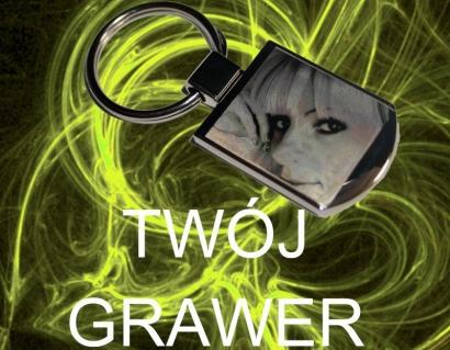 Brelok metalowy GRAWER Zdjęcie+Tekst