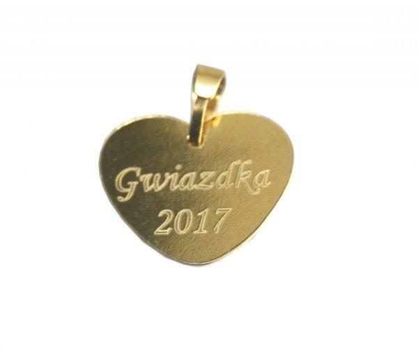 Zawieszka Serce Srebro pokryte złotem GRAWER Zdjęcia i tekstu