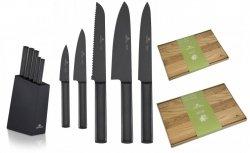 Noże Gerlach 984 Ambiente BLACK 5x Nóż + blok | Deska Gerlach Natur 30x24 i 45x30 cm