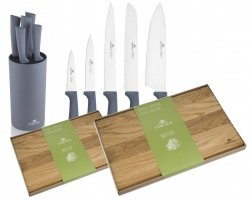 Noże Gerlach 994 Smart GREY | 5x Nóż + Blok | Deska 30x24 i 45x30 cm