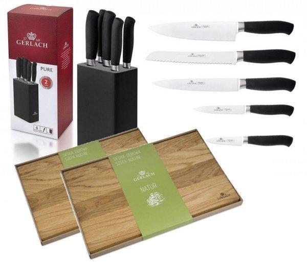 Zestaw noży Gerlach Pure - 5 noży 982 + Deska Gerlach 30x24 i 45x30