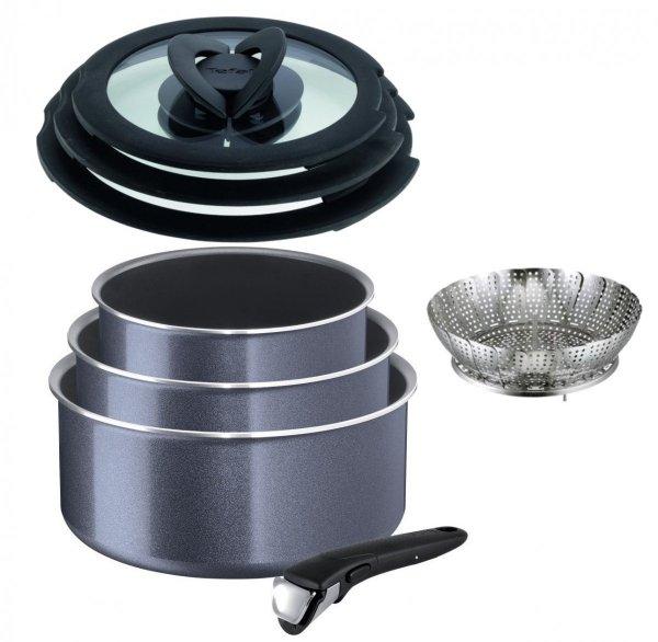 Set: Garnki Tefal Ingenio Elegance 4 PCS 16/18/20 cm + pokrywy + rączka L23193 02/L99310/Koszyk