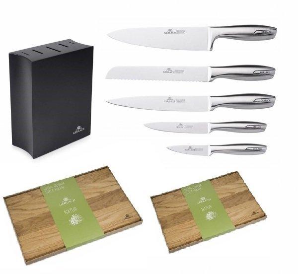 Noże Gerlach 993 Modern zestaw noży + blok czarny + Deska Gerlach 320 Natur 30x24 cm i 45x30 cm