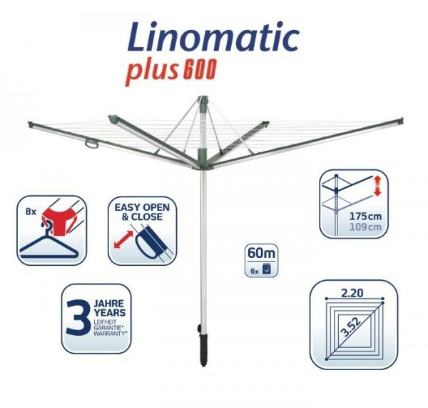 Suszarka Leifheit Linomatic 600 Plus 85120 + Pokrowiec Leifheit 85632