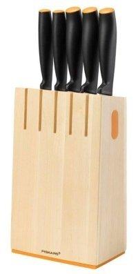 Oryginalny zestaw 5 noży Fiskars w bloku z magnesem (Symbol: 1014190/1014209/1014211)