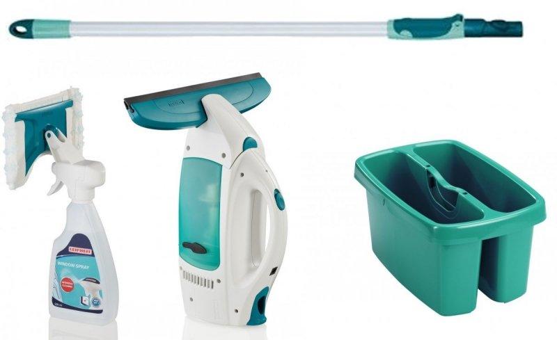 SET: Odkurzacz, myjka do szyb, płyn Leifheit 51021 Dry&Clean + drążek teleskopowy 75-135 cm Leifheit 56673 + wiadro dwukomorowe 52001