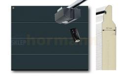 Brama automatyczna ISOMATIC 42 mm, 2500 x 2125, Przetłoczenia L, Woodgrain, antracyt RAL 7016, z napędem elektrycznym