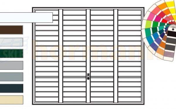 Brama uchylna N 80, 2500 x 1920, Wzór 904 Okrągłe profile Ø 12 mm, Odstęp 100 mm, kolor do wyboru