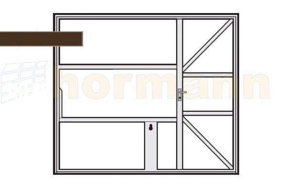 Brama uchylna N 80, 3000 x 2125, Wzór 905 z drzwiami, do wypełnienia