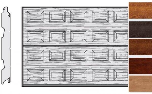Brama LPU 42, 4750 x 2000, Kasetony S, Decograin, okleina drewnopodobna