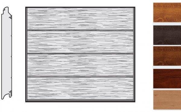 Brama LPU 42, 2315 x 2080, Przetłoczenia L, Decograin, okleina drewnopodobna