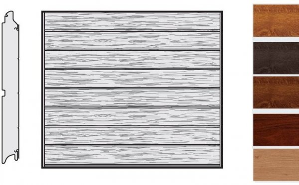 Brama LPU 42, 2375 x 2000, Przetłoczenia M, Decograin, okleina drewnopodobna