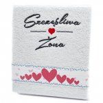 Ręcznik haftowany  SZCZĘŚLIWA ŻONA , kolor biały