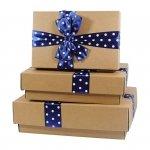 Komplet 3 pudełek prezentowych, mix kolorów wstążek