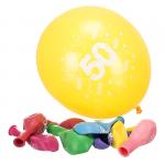 Komplet 10 balonów z napisem '50 Happy Birthday'. Różne kolory.