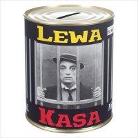 Skarbonka mtalowa z napisem 'Lewa kasa'. Rozmiar 12x10 cm