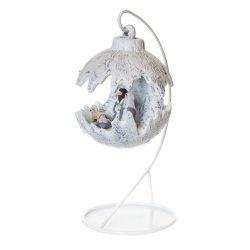 Kula świąteczna mała LED/szopka - biały-papier