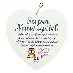 Drewniana tabliczka w kształcie serca 'Super Nauczyciel'. Wzór 2.  Rozmiar 7 cm