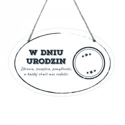 Drewniana tabliczka w kształcie owalu druk UV z napisem W dniu urodzin...