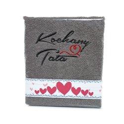 Ręcznik haftowany KOCHANY TATA , kolor SZARY