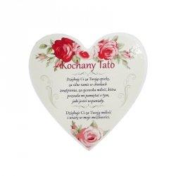 Drewniana tabliczka w kształcie serca  Kochany Tata
