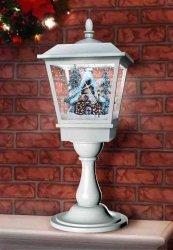 Lampa stołowa bożonarodzeniowa z domkiem