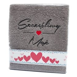 Ręcznik haftowany SZCZĘŚLIWY MĄŻ , kolor szary