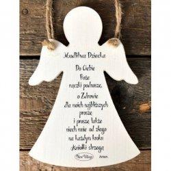 Tabliczka drewniana Anioł z modlitwą dziecka