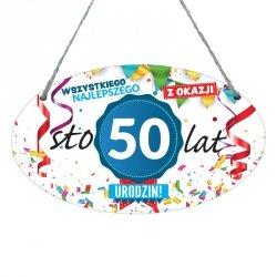 Drewniana tabliczka w kształcie owalu druk UV z napisem Wszystkiego najlepszego z okazji 50 lat