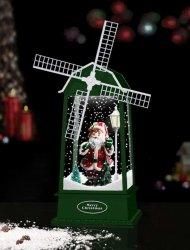 Latarenka wiatrak bożonarodzeniowa z mikołajem