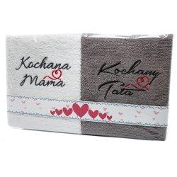 Komplet ręczników  KOCHANA MAMA KOCHANY TATA  kolor biało-szary