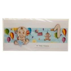 Kartka w dniu 1 urodzin chłopczyk, z elementami sklejki