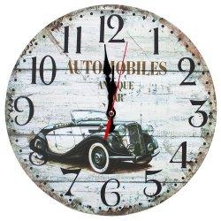 Zegar ścienny drewniany, retro samochód