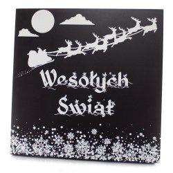 Drewniana tabliczka kwadrat Wesołych Świąt mikołaj