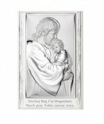 Obrazek srebrny przedstawiający wizerunek Jezusa Chrystusa z Dzieciątkiem