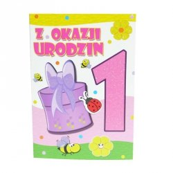 Kartka Z Okazji 1 Urodzin, pszczółki i biedronka