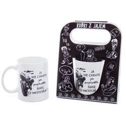 Kubek ceramiczny z napisem 'Ja nie chrapię ja po prostu śnie o motorach' , w ozdobnym czarnym opakowaniu