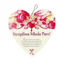Drewniana tabliczka w kształcie serca Szczęśliwa Młoda Paro