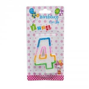 Świeczka cyferka urodzinowa z brokatem 4
