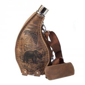 Piersiówka Bukłak z eleganckim pokrowcem z paskiem na ramię , pojemność 53 oz (1.5L ) 28x14x9,2cm