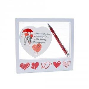 Ramka z okienkiem - zestaw prezentowy - tabliczka ceramiczna, długopis