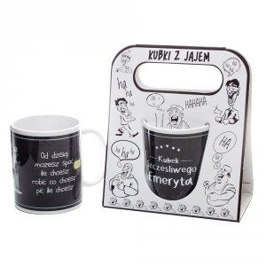 Kubek ceramiczny z napisem 'Kubek szczęśliwego emeryta' kolor czarny ,w ozdobnym białym opakowaniu