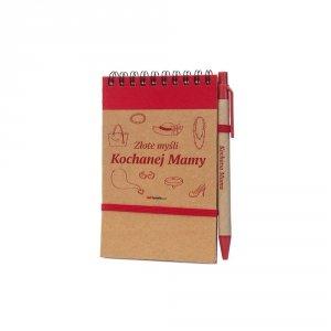 Notes i długopis eco z nadrukiem Złote myśli Kochanej Mamy - kolor czerwony