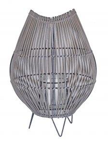 LAMPION WIKLINOWY SZARY ZE SZKLANYM WKŁADEM DUŻY 29x43cm