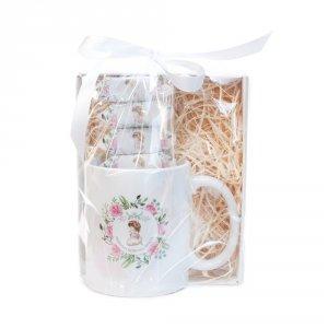 Kubek ceramiczny Pierwsza Komunia Święta + krówki ciagutki - dziewczynka