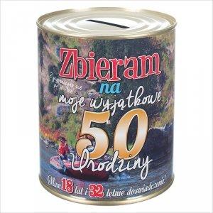 Skarbonka metalowa z  napisem 'Zbieram na moje szalone 50 urodziny'.  Rozmiar 12x10 cm